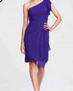 David's Bridal Purple Chiffon Short Regency Formal Bridesmaid/Mob Dress Size 4 (S)