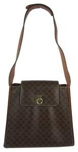 Céline Brown Leather Logo Tote Shoulder Bag