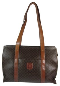 Cline Brown Leather Logo Tote Shoulder Bag