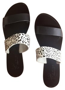 Joie Calf Hair Leather Dot-Black Sandals