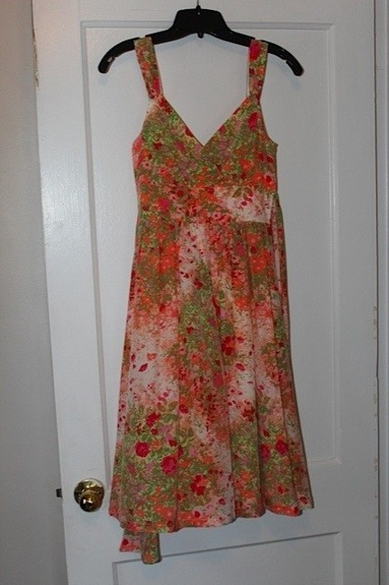 Anthropologie short dress pink & green Empire Waist Tea Length on Tradesy