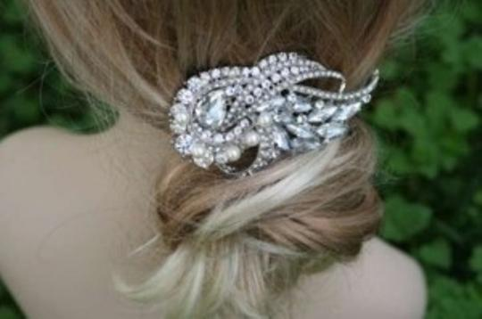 Swarovski Silver/Crystal/Pearl Comb Barrette And Hair Accessory