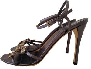 Prada Highheels Stiletto Gold Leather Embellished GUNMETAL with Anti-gold Formal