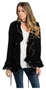 Other Boho Ruffle Feminine Girly Belted Cardigan