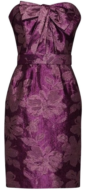 Item - Cassis/Gold Double-weave Floral Matalasse with Bow Mid-length Cocktail Dress Size 2 (XS)