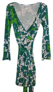 Diane von Furstenberg short dress Blue/Green Dvf Wrap Print on Tradesy