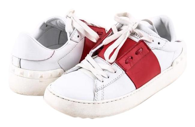 Item - White And Red Rockstud Colourblock Leather Sneakers Boots/Booties Size US 7.5 Regular (M, B)