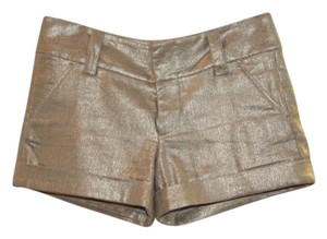 Alice + Olivia Metallic Mini/Short Shorts Gold
