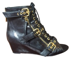 Dolce Vita Leather Gold Laceup Wedge Black Boots