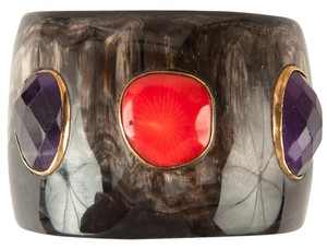 Ashley Pitman Dark Horn Carved Wide Bracelet with Purple and Red Jewel Accents