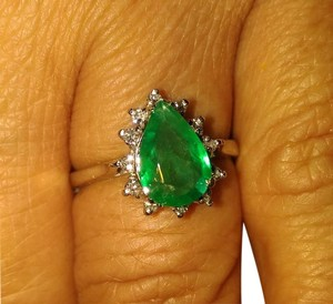 SALE*1.52ct 100% NATURAL EMERALD&DIAMOND 14K GOLD ENGAGEMENT RING