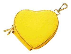 yellow vegan patent leather coin purse