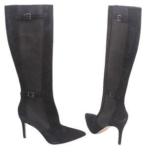 Via Spiga Pointed Toe Pointy Toe Knee High High Heel Suede Leather Black Boots