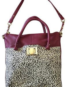 Kelsi Dagger Leather Suede Silk Satchel in Burgundy / Leopard