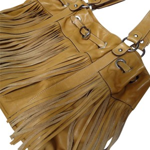 Cavalcanti Tassels Leather Tote in mustard