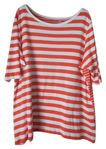 Sejour Plus-size Striped Short Sleeves Cotton/Modal Sweater