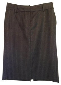 Massimo Dutti Italian Pencil Skirt Gray with White Pinstripes