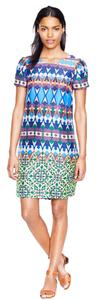 J.Crew short dress Blue/green multi Silk on Tradesy