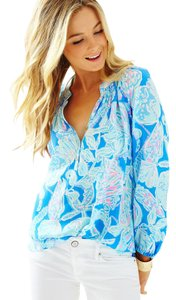 Lilly Pulitzer Top Bay Blue Into The Deep