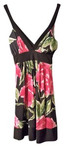 Forever 21 short dress Black with Pinkish Flowers on Tradesy