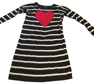 Express short dress Black and White Heart Sweater Longsleeve on Tradesy