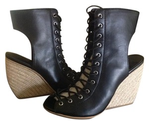 Rebecca Minkoff Sandal/bootie Lace Up Black Leather Wedges