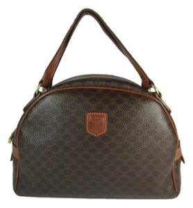 Céline Brown Leather Logo Bowling Satchel
