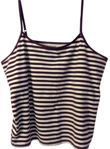 a.n.a. a new approach Top Maroon & Eggshell Striped Cami 3x