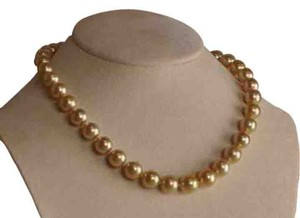 Unique Vintage NATURAL GOLDEN AUSTRALIAN SOUTH SEA PEARL NECKLACE 14K 9-10MM 18INCHES
