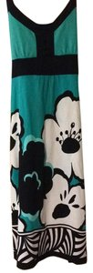 Dorothy Perkins short dress Black, teal Floral Empire Waist Tie Adjustable Staps Stretchy on Tradesy