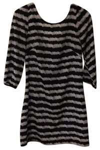 Francesca's short dress Black white Exposed Zipper Pattern Shift Longsleeve Knee Length on Tradesy