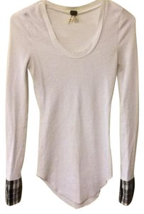 Free People Stretchy Cuffs Fleece Vintage T Shirt White