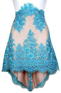 Lisa Nieves Lace Lace Trim Mini Skirt turquoise