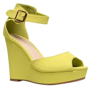 Bamboo Ankle-strap High-heel Yellow Wedges