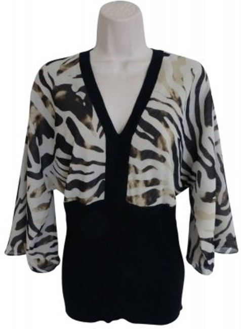 Preload https://item1.tradesy.com/images/ak-anne-klein-black-brown-khaki-tan-zebra-shirt-plunge-v-neck-safari-blouse-size-16-xl-plus-0x-18685-0-0.jpg?width=400&height=650