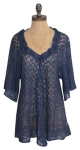 Free People Open Knit Lambswool Top BLUE