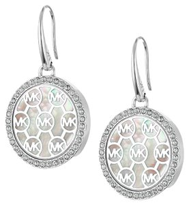 Michael Kors Crystal Framed Logo Disc Drop Earrings MKJ5368040