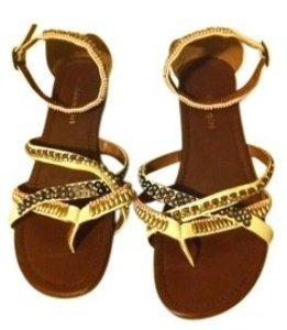 Madden Girl S white with gold, pink, & blue beads Sandals