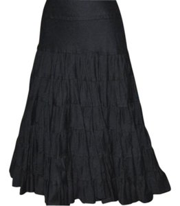 In 9 International Newport Group Full Circular Boho Chic Modern Up Date Midcalf Skirt Black
