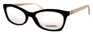 Chanel Eyeglasses Black with Beige Leather Temples with CHANEL Case
