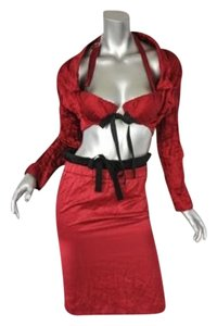 Prada Prada Red Crinkled Bustier-jacketboleroskirt Runway Dress Outfit Suit