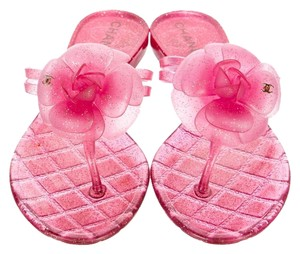 Chanel Jelly Camellia Pink, Gold Sandals