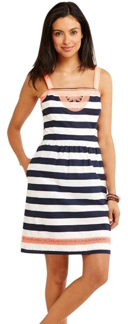Item - Nautical Striped Embroidered Above Knee Cocktail Dress Size 8 (M)