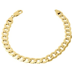 Jewelry For Less Mens Real 10k Yellow Gold Hollow Cuban Curb Link 6.50mm Bracelet 8 9