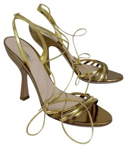 Miu Miu Gold Strappy Leather Sandal Sandals