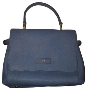 DKNY Leather Gold Hardware Faux Leather Satchel in Blue