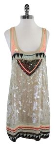 AllSaints short dress Nude Coral Black Sequined on Tradesy