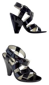 Dolce&Gabbana Black Patent Leather Strappy Heels Sandals