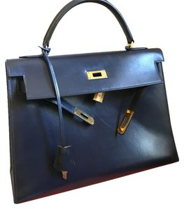 Hermès Hermes Kelly 32 Satchel in Dark Navy Blue
