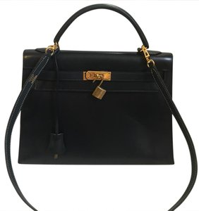 Hermès Kelly 32 Satchel in Dark Navy Blue